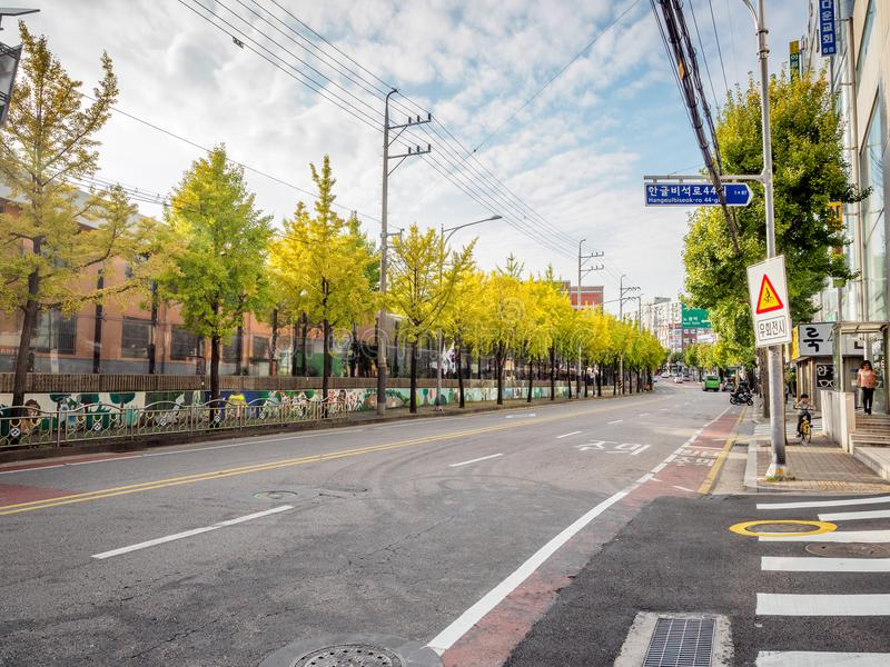 View of road and apartments of Sanggye-dong on Oct 10, 2017 in S royalty free stock photography