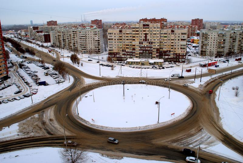 View of the road ring at the intersection of Avtostroiteley and 70 years of October in the city of Tolyatti. View of the road ring at the intersection of stock photo