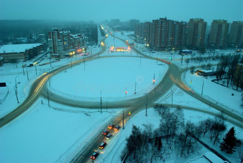 View of the road ring at the intersection of four streets in the city of Togliatti on an early January morning. stock photo