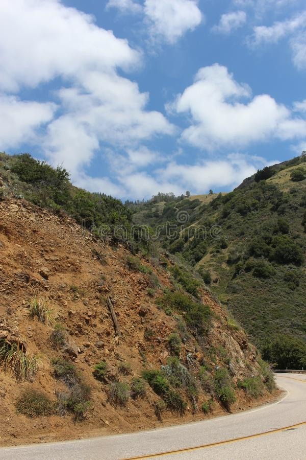 Curving Road on Highway 1 at Ragged Point royalty free stock image