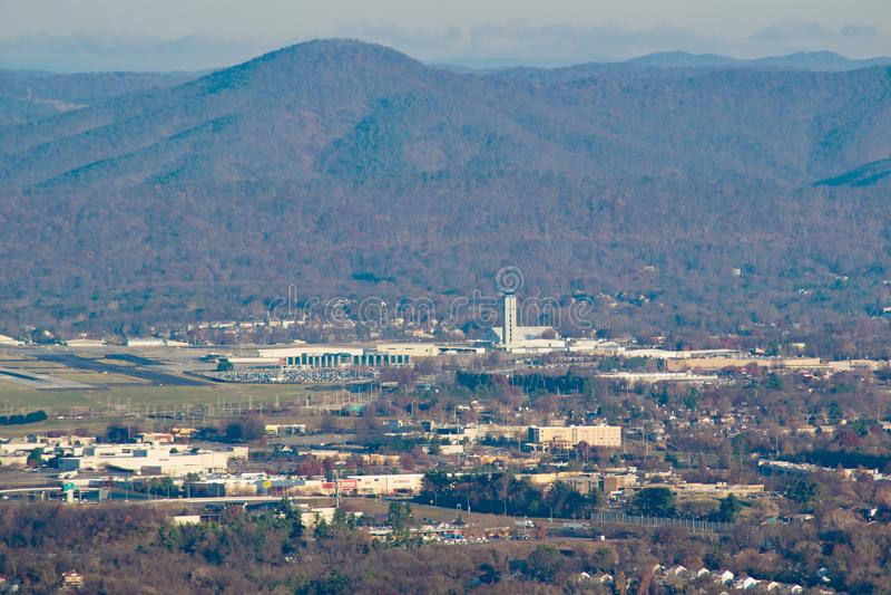 View a Roanoke – Blacksburg Regional Airport. Roanoke, VA – November 30th: A view from Mill Mountain of the Roanoke – Blacksburg Regional stock photography