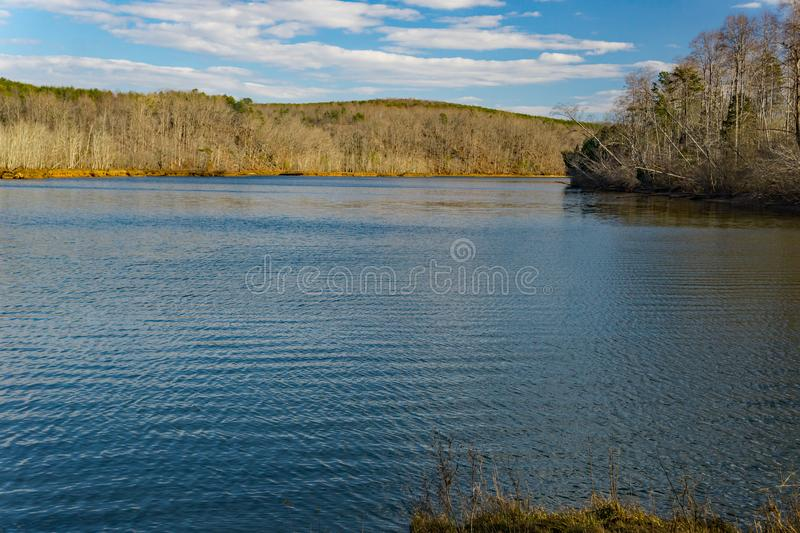 View of Roanoke River from Smith Mountain Dam. View of the Roanoke River from Smith Mountain Dam located, in Bedford and Pittsylvania County, Virginia, USA stock images