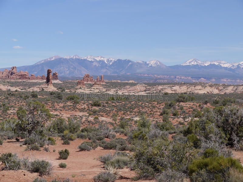 View of rock formations and Utah mountains, USA royalty free stock photos