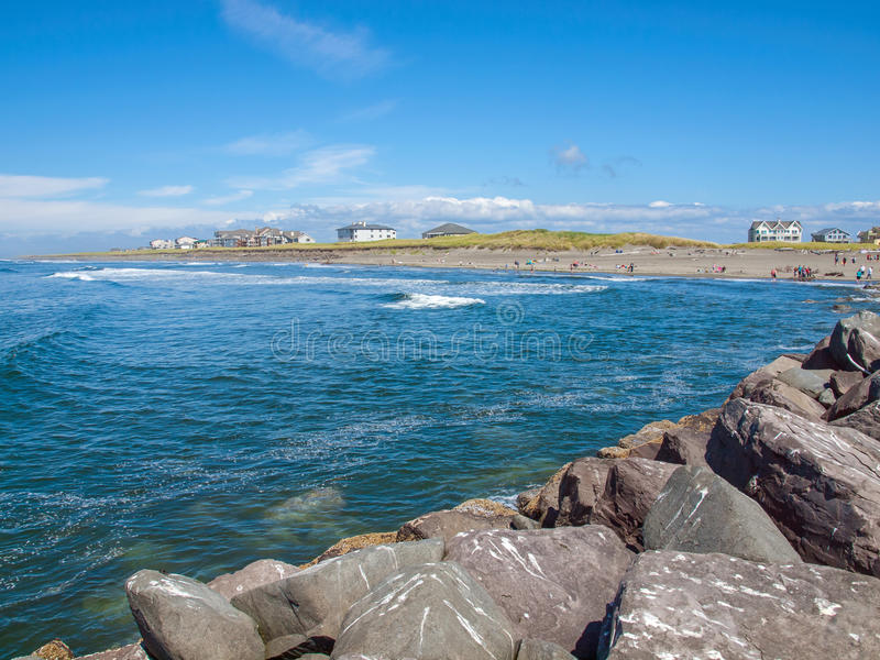 View from the Rock Jetty at Ocean Shores Washington USA stock photo