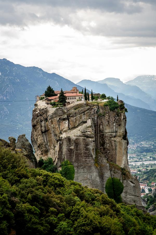 View of the rock monasteries of Meteora in Greece.  royalty free stock images