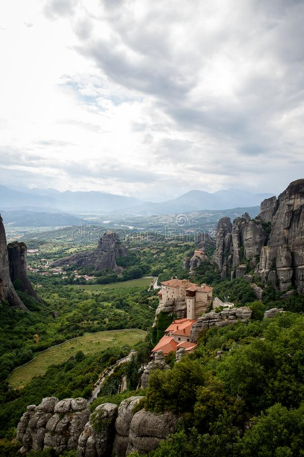 View of the rock monasteries of Meteora in Greece.  royalty free stock photo