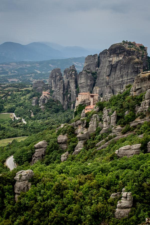View of the rock monasteries of Meteora in Greece.  stock image