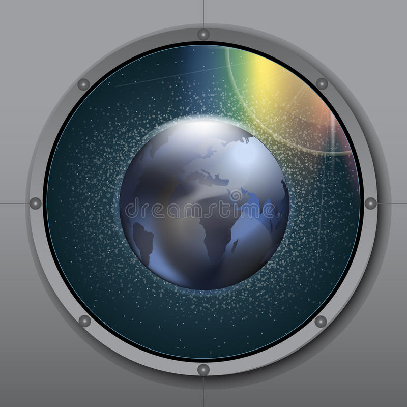 View from rocket or ship porthole on planet earth in space over a background with glowing stars vector illustration