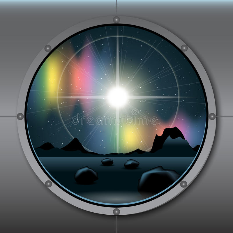 View from rocket or ship porthole on a planet in space royalty free illustration