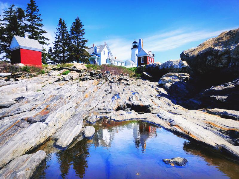 A view from the rocks of Pemaquid Point Lighthouse stock photo