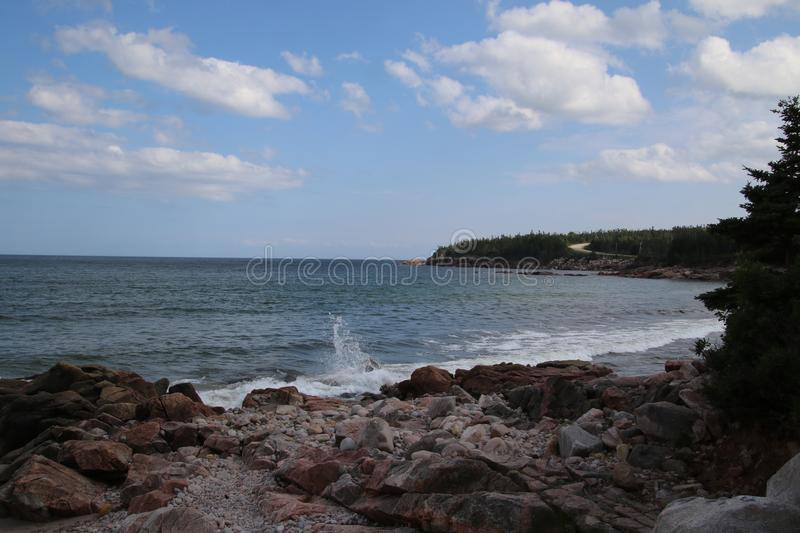 A view of a rocky beach on the Atlantic ocean royalty free stock photo