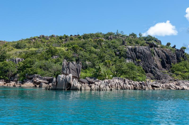 View of the coastline of the Marine National Park of Curieuse island, Seychelles stock image