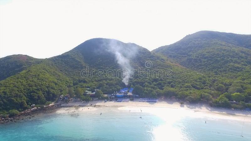 View of the rocky islands in Andaman sea, Thailand. Aerial view on Tropical beach, Similan Islands, Andaman Sea. Thailand. View Point bay Koh Phi Phi Don in stock images