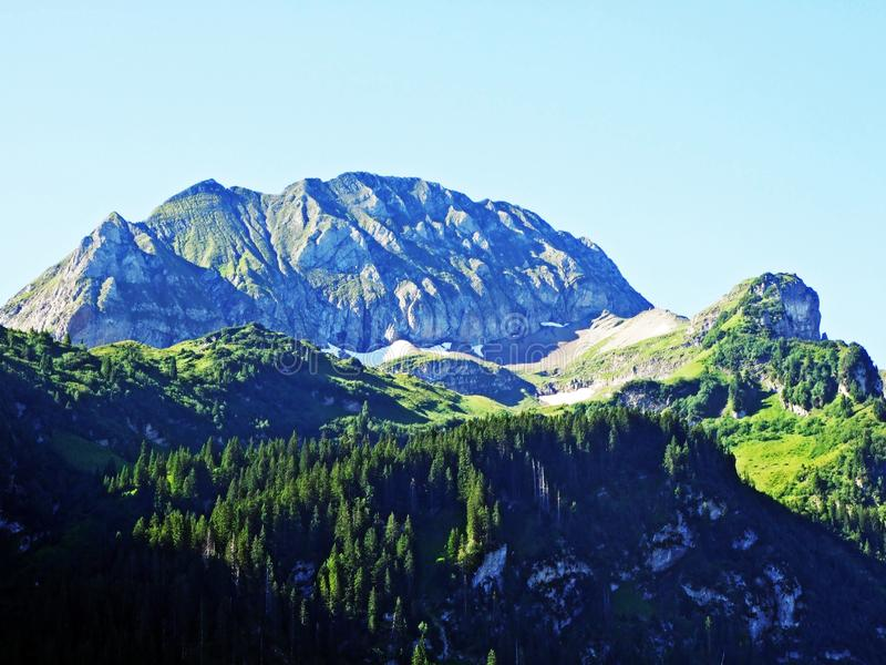 A view of the rocky peaks in the Alpine mountain range Alviergruppe stock photography