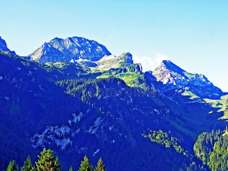 A view of the rocky peaks in the Alpine mountain range Alviergruppe royalty free stock image