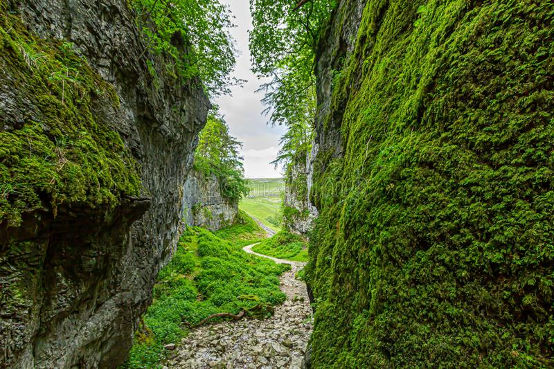 A view of a rocky ravine with green vegetation and rocky  path trail royalty free stock photo