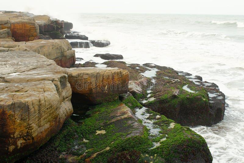 Rocky sea shore in Mar del Plata. View of a rocky sea shore in Mar del Plata, Buenos Aires, Argentina stock image