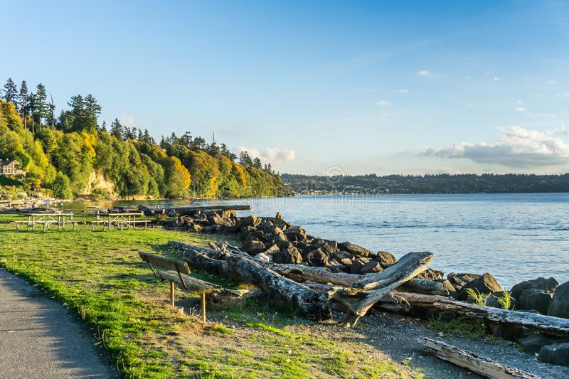 Rocky Autumn Shoreline 5. A view of the rocky shoreline at Saltwater State Park in the autumn stock images