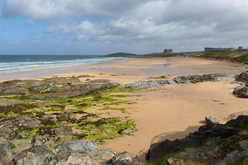 View of rocky south Fistral beach Newquay North Cornwall UK. View of Fistral beach Newquay North Cornwall UK in spring with rocks and green seaweed royalty free stock photography