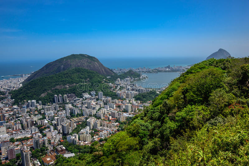 View on Rodrigo de Freitas Lagoon and Zona Sul, Rio de Janeiro,. View on Rodrigo de Freitas Lagoon and Zona Sul from Mirante Dona Marta at the National Park of stock images