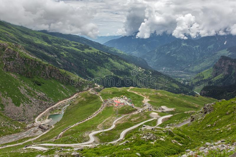 View from Rohtang pass at beautiful green Kullu valley. In Himachal Pradesh state, India stock photography