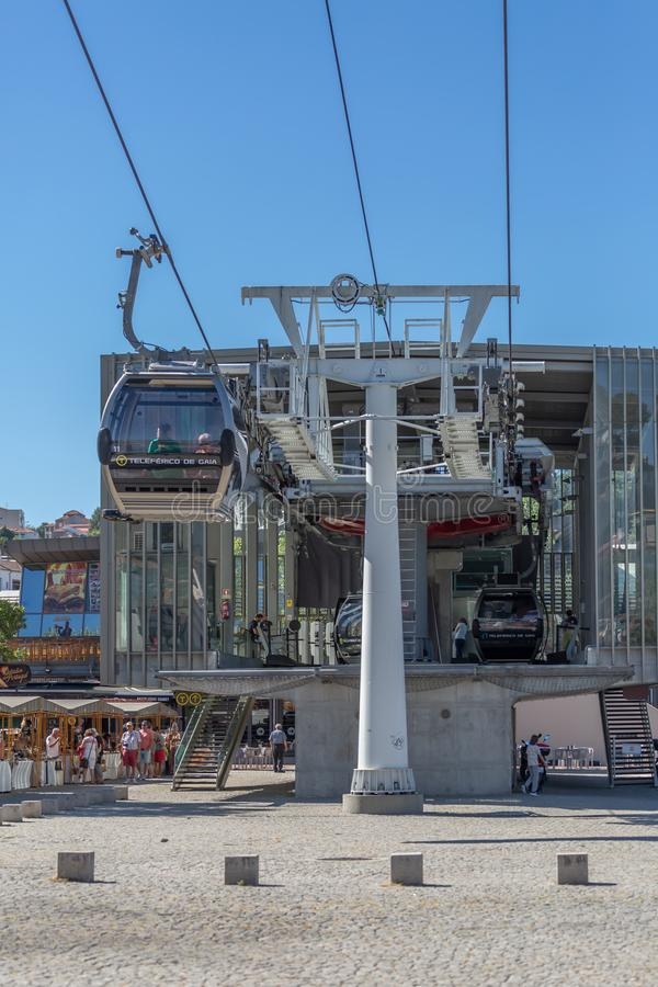 View of rolling system and cable fixing of cable car or Aerial tramway, cabins entering and exiting the return gare, in the royalty free stock image