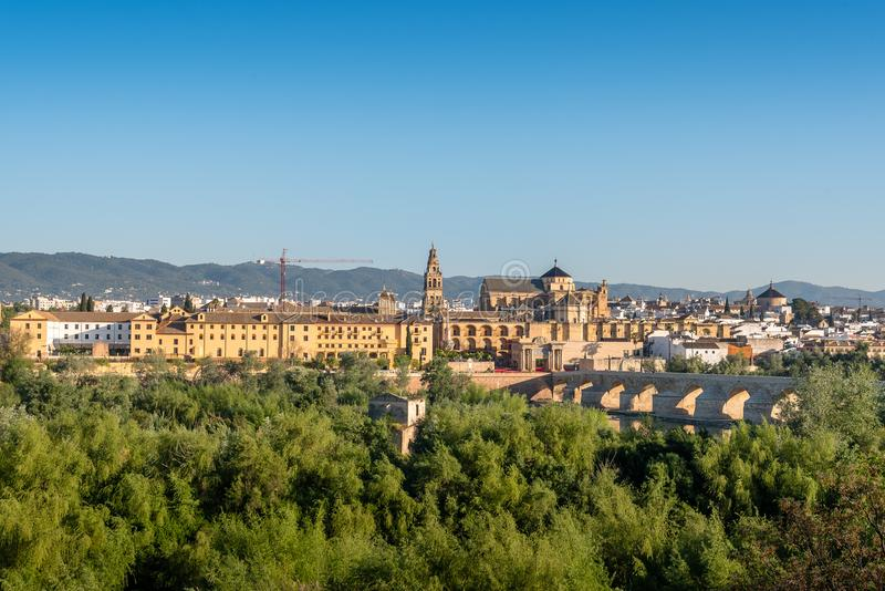 View of the Roman Bridge and Mosque Cathedral in Cordoba royalty free stock photography
