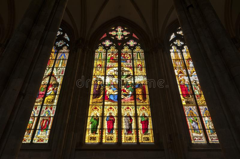 View of the Roman Catholic Gothic Cathedral Kolner Dom, World Heritage stock photography