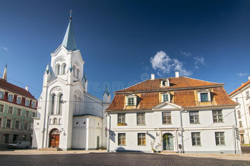 View on the roman catholic Virgin of Anguish Church in the old town of Riga, Latvia.  royalty free stock photo