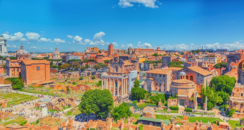 View of the Roman Forum from the Hill of Palatine - a general overview of the entire Roman Forum with all the sights. Italy. stock photo