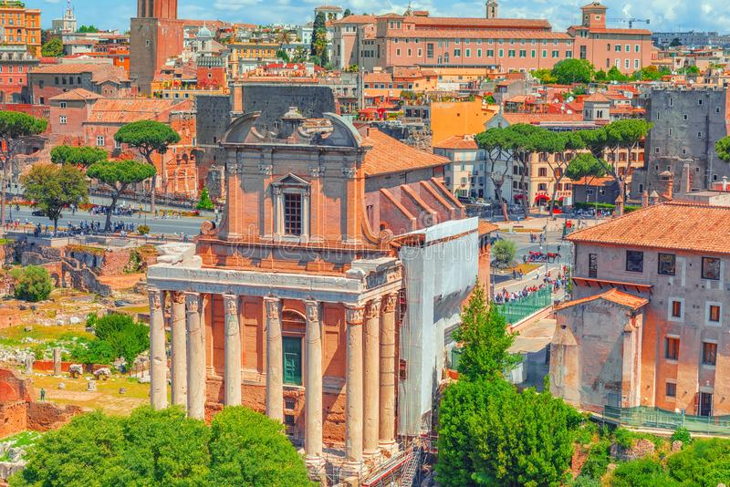 View of the Roman Forum from the Hill of Palatine - a general overview of the entire Roman Forum atop. Temple of Antoninus and Fa. Ustina Tempio di Antonino e stock photography