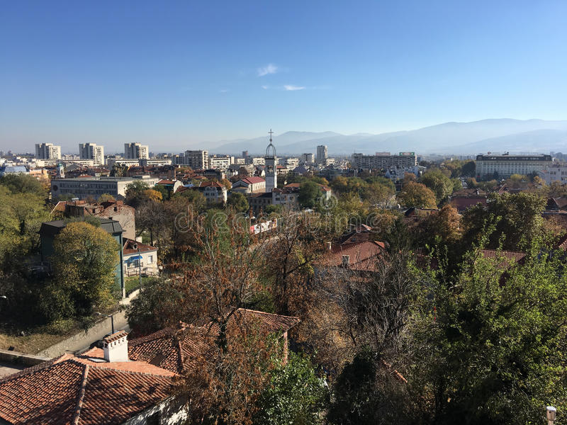 View from the Roman theatre of Plovdiv. View over the old town from the Roman theatre of Plovdiv Bulgaria stock photo