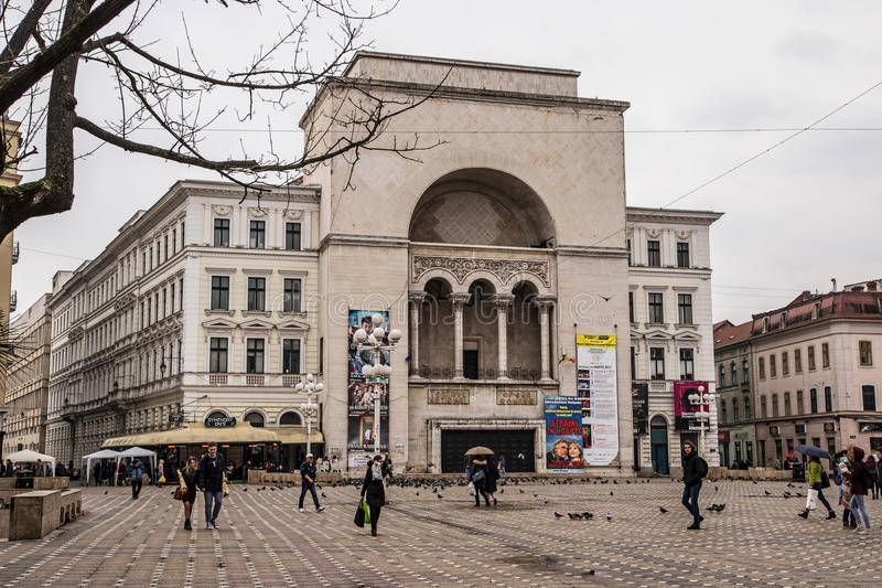 View of Romanian National Opera from the main square in Timisoara stock photography