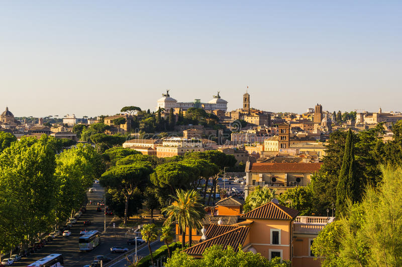 View of Rome from the hill of aventin stock photo
