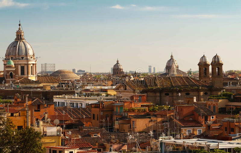 The view of Rome historical architecture and city skyline. Italy. The Rooftop view of Rome historical architecture and city skyline. Italy royalty free stock images
