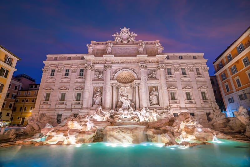 View of Rome Trevi Fountain Fontana di Trevi in Rome, Italy. At twilight royalty free stock photo