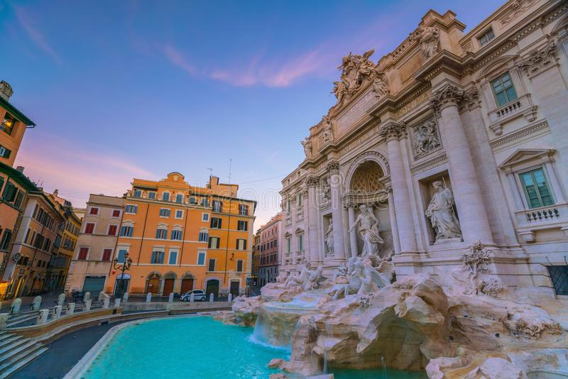 View of Rome Trevi Fountain Fontana di Trevi in Rome, Italy. At twilight stock image