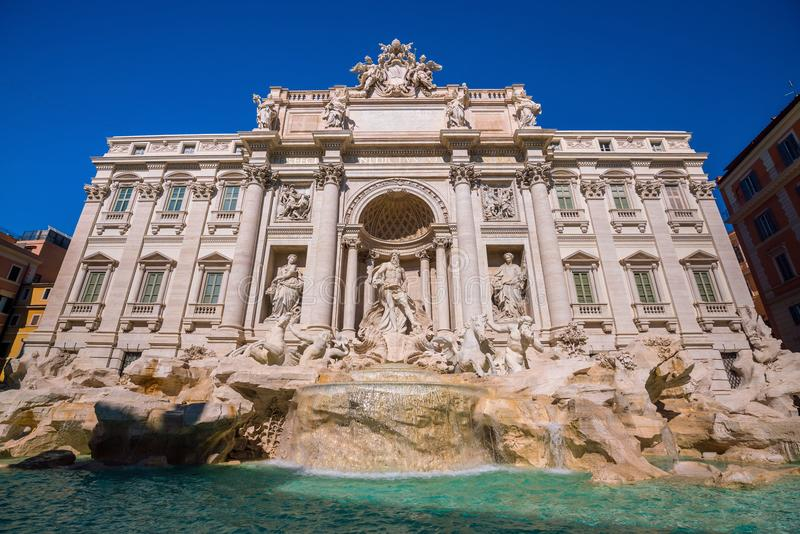 View of Rome Trevi Fountain Fontana di Trevi in Rome. Italy stock images