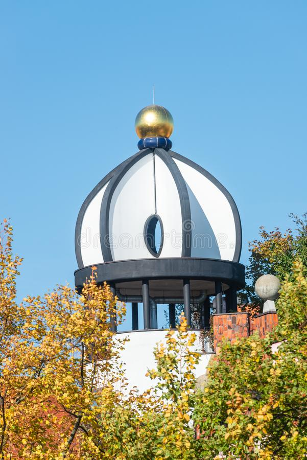 View of roof art at major square in Magdeburg downtown, Germany. Sunny day, blue sky stock photo