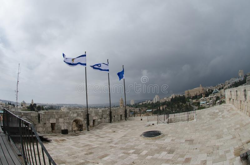 View on roof of Austrian Hospice at Old City of Jerusalem. stock images