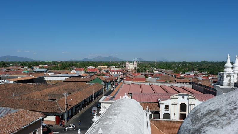 View from the roof of the cathedral, Leon, Nicaragua stock photo