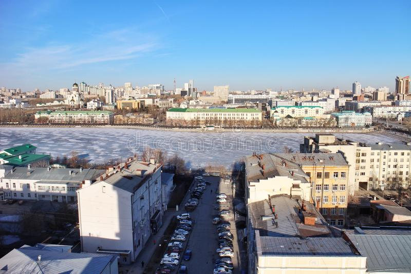 View from roof Ekaterinburg stock photo