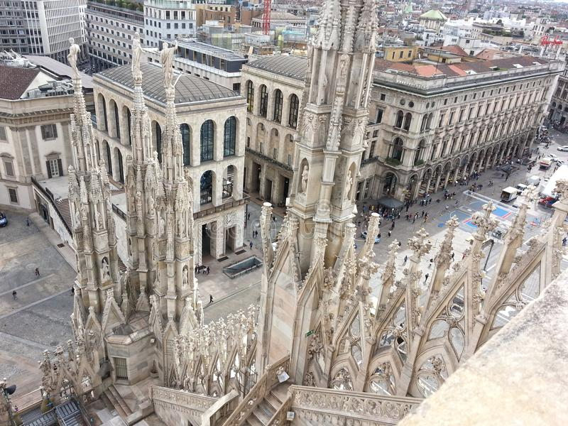 View from the roof of the Milan Cathedral stock image