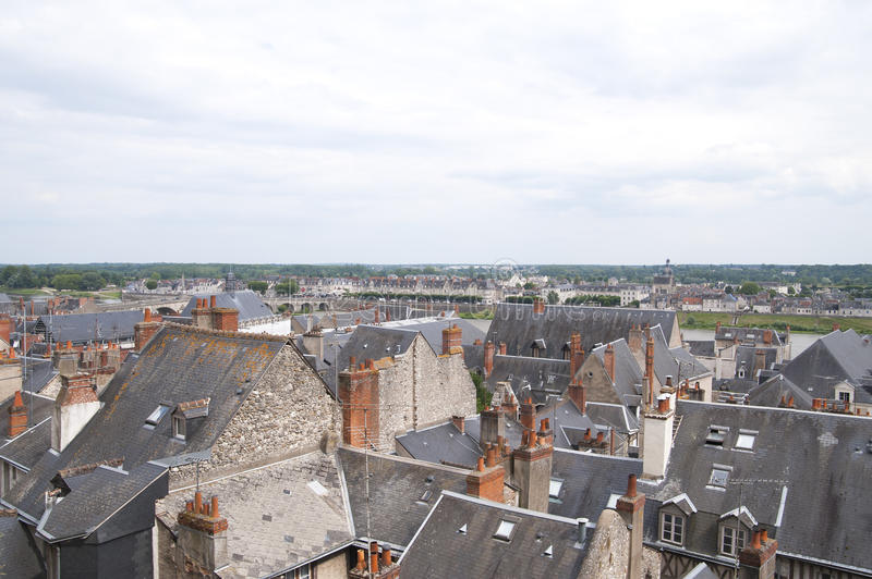 View of the roofs of the city of Blois (France). stock photo