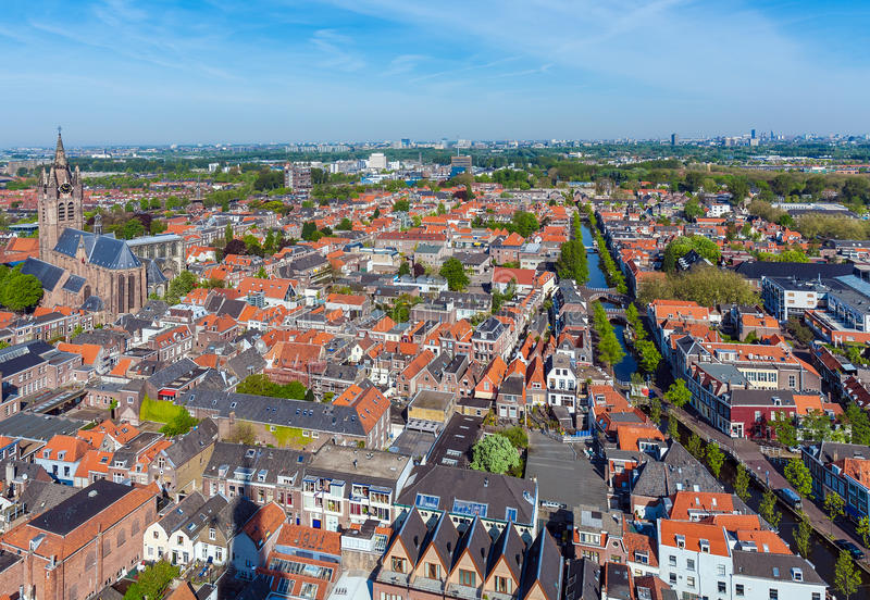 View of the roofs of the houses of Delft, Netherlands. View of the roofs of the old houses of Delft from the top of the new Church, Netherlands stock photo