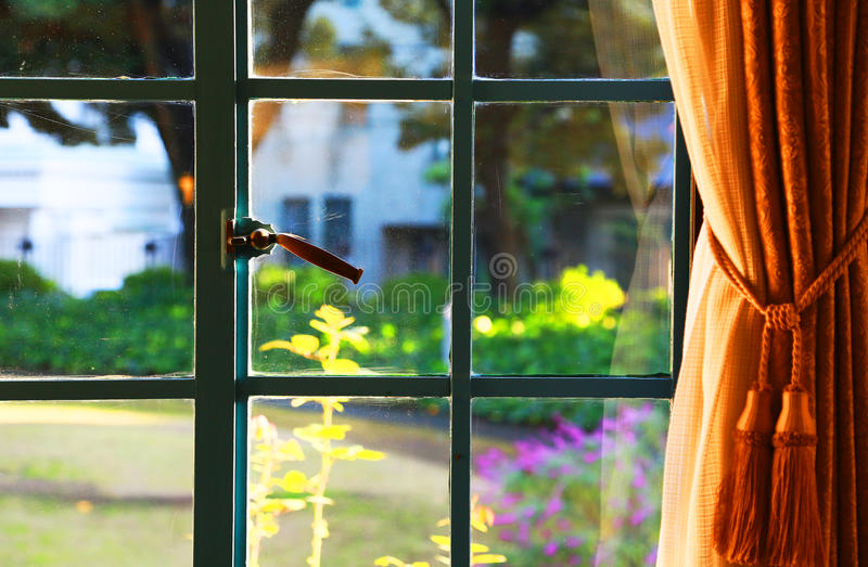 View from the room of the day when it was fine. The view of garden from the room of the day when it was fine royalty free stock photo