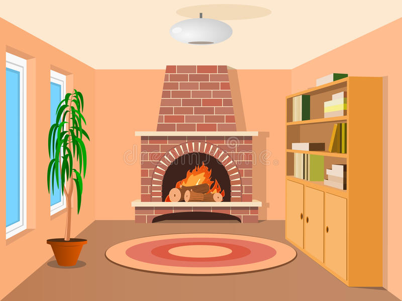 View in room with fireplace vector illustration