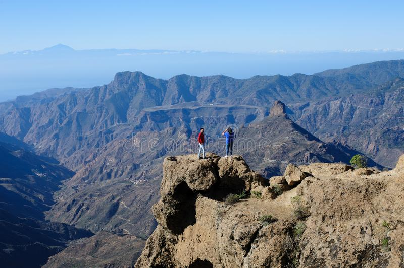 View of Roque Nublo and Roque Bentayga stock photography