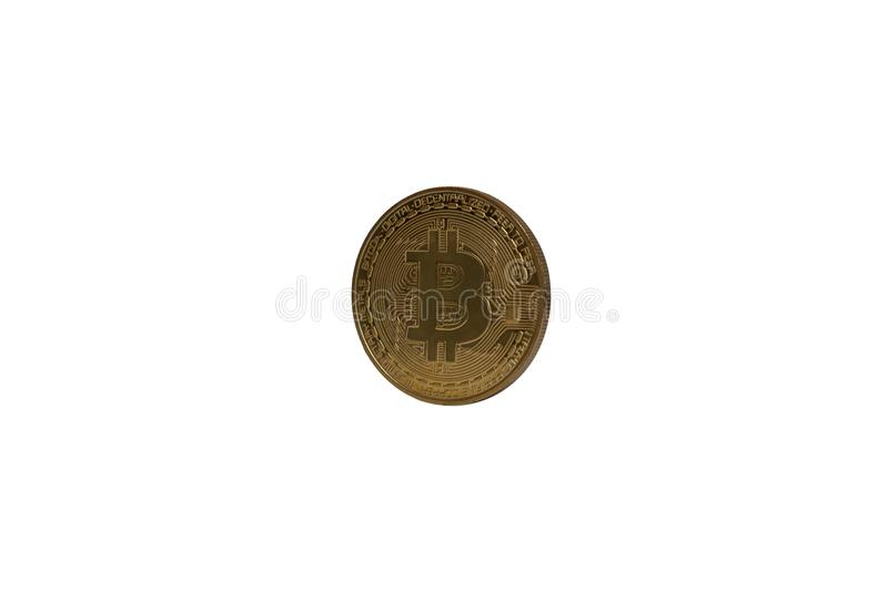 Physical bitcoin rotated isolated on white royalty free stock image