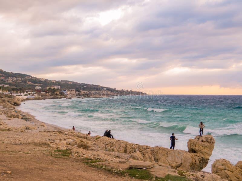 Sea in Batroun, Lebanon stock photos